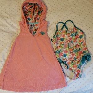 Little Mermaid matching swimsuit and cover up